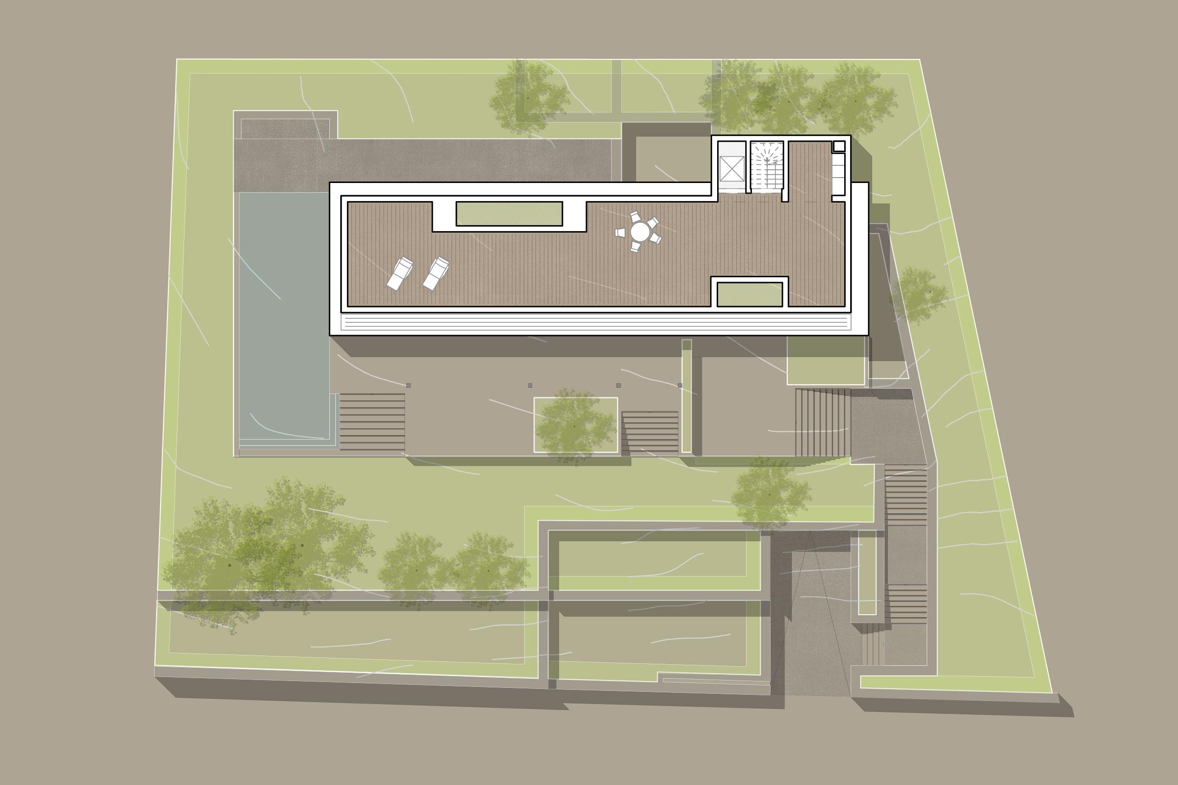 Grundriss Dachterrasse - Luxus-Immobilie in Port d'Andratx auf Mallorca kaufen